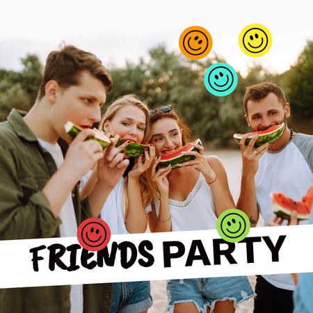 Summer Party Announcement with Friends eating Watermelon Instagram Tasarım Şablonu