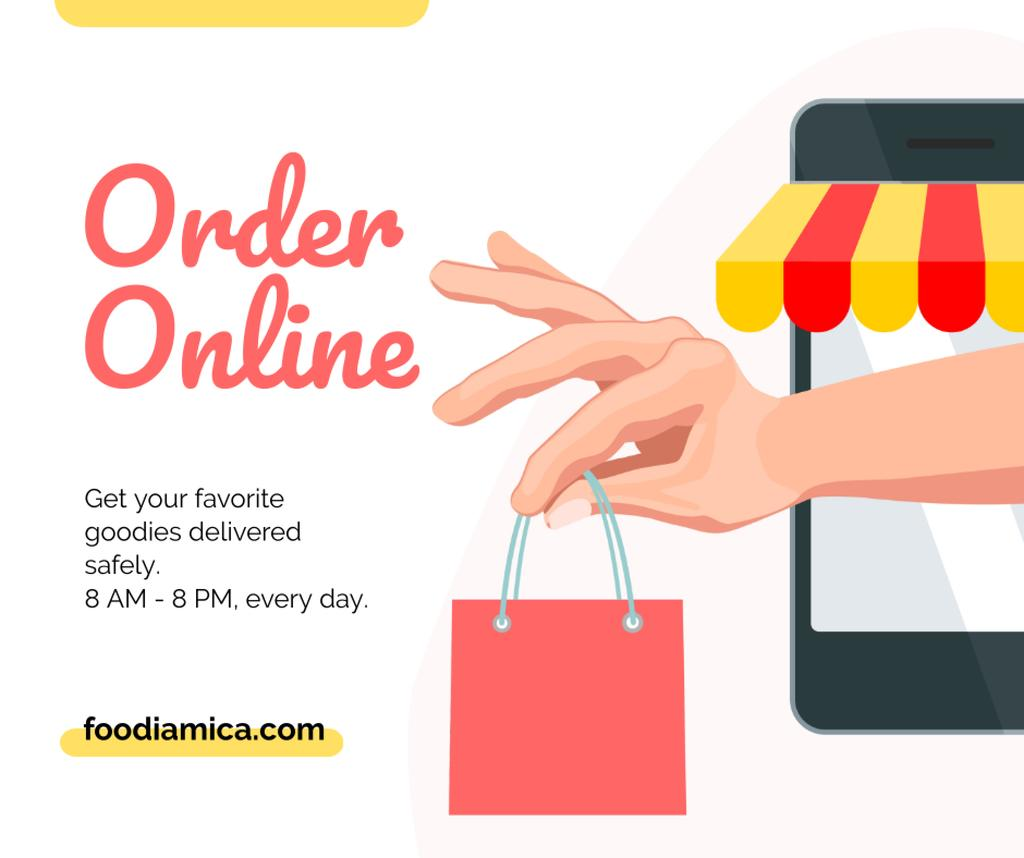Delivery Services with Man holding shopping bag Facebook – шаблон для дизайну