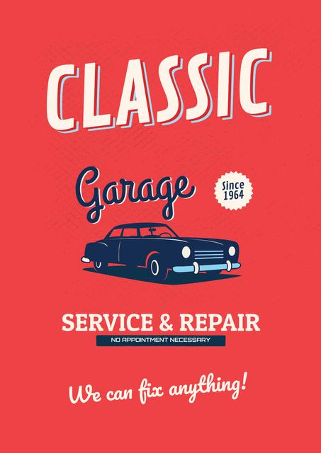 Garage Services Ad with Vintage Car in Red Posterデザインテンプレート