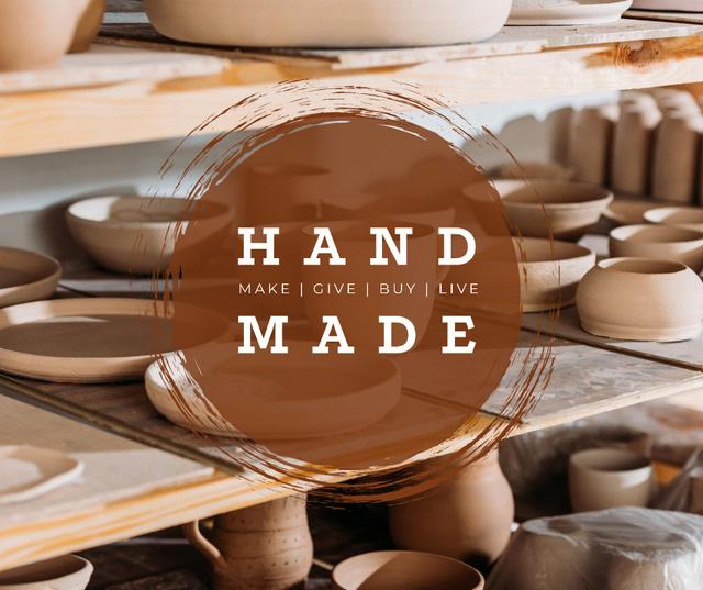 Pottery Promotion Ceramics on Shelves Facebook Modelo de Design