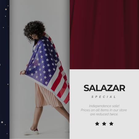 Template di design Independence Day Girl in USA Flag Animated Post