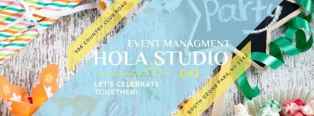 Plantilla de diseño de Event Management Studio Ad with Bows and Ribbons Facebook cover