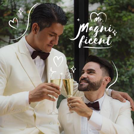 Happy LGBT Couple celebrating Wedding with Champagne Instagram – шаблон для дизайна