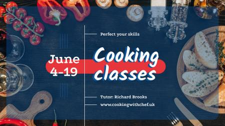 Cooking Italian Food Class Invitation FB event cover Modelo de Design