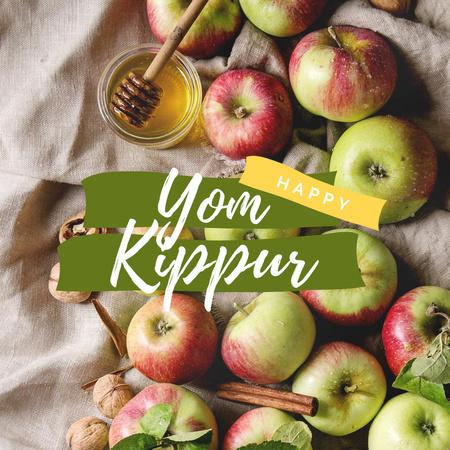 Yom Kippur Holiday Announcement with Fresh Apples Instagram – шаблон для дизайну