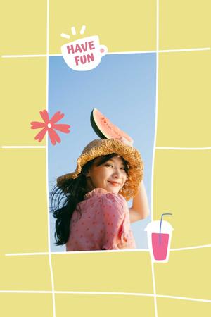 Designvorlage Mental Health Inspiration with Girl holding Watermelon für Pinterest