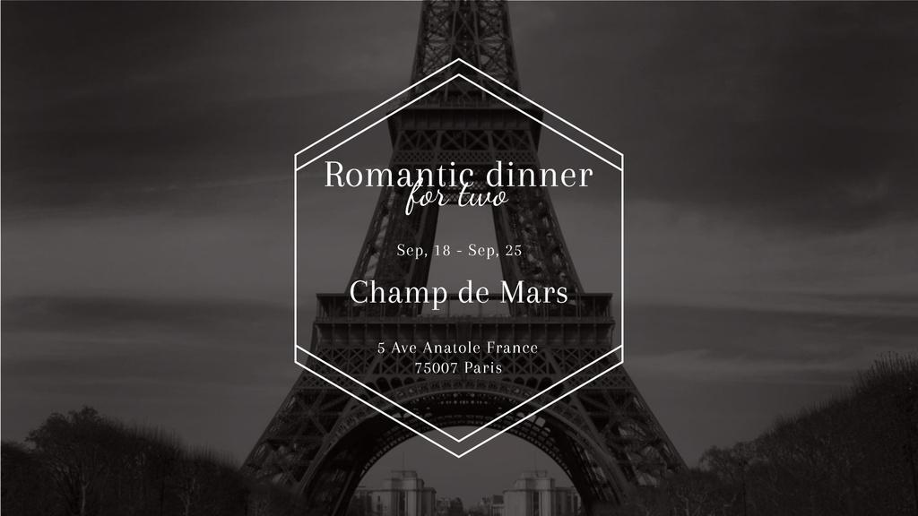 Designvorlage Romantic dinner in Paris invitation on Eiffel Tower für FB event cover