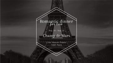 Romantic dinner in Paris invitation on Eiffel Tower