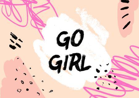 Girl Power Inspiration on Bright Pattern Card – шаблон для дизайна