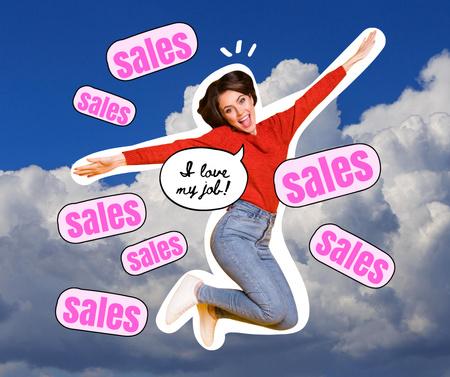 Modèle de visuel Sale Announcement with Funny flying Woman - Facebook