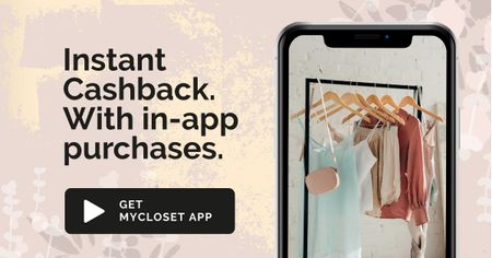 Ontwerpsjabloon van Facebook AD van Online Fashion App Offer with Clothes on Phone Screen