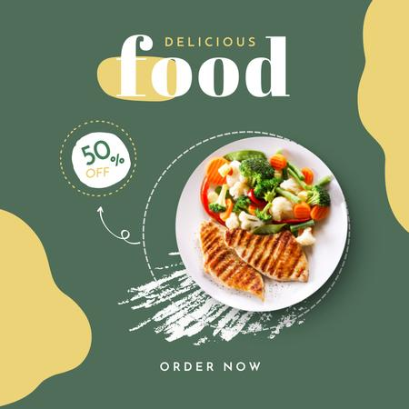 Food Delivery Discount Offer with Delicious Dish Instagram – шаблон для дизайна