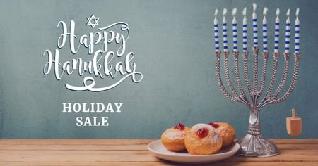 Hanukkah Sale Ad with Menorah Facebook AD Modelo de Design