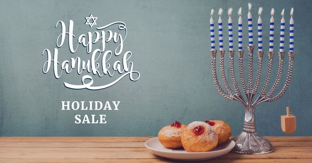 Ontwerpsjabloon van Facebook AD van Hanukkah Sale Ad with Menorah