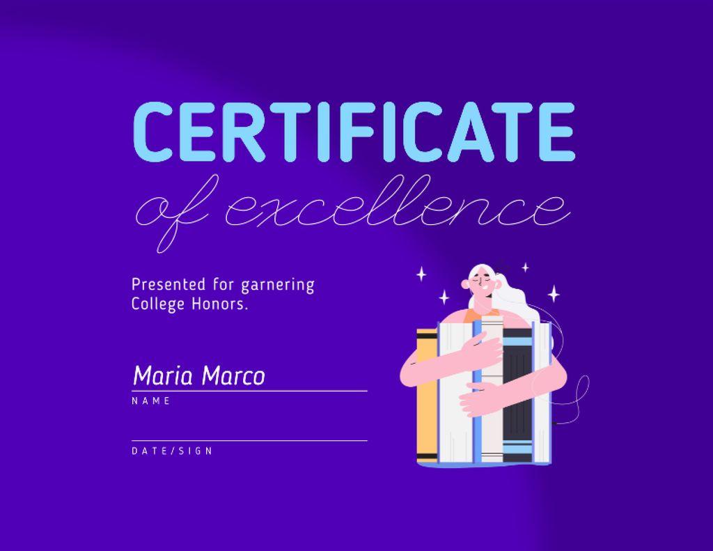 Ontwerpsjabloon van Certificate van Achievement Award in Education with Girl holding Books
