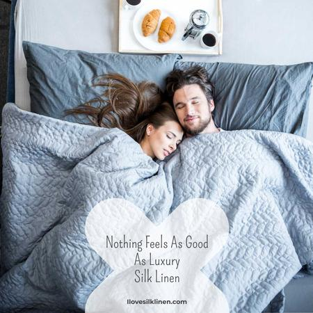 Bed Linen ad with Couple sleeping in bed Instagram ADデザインテンプレート