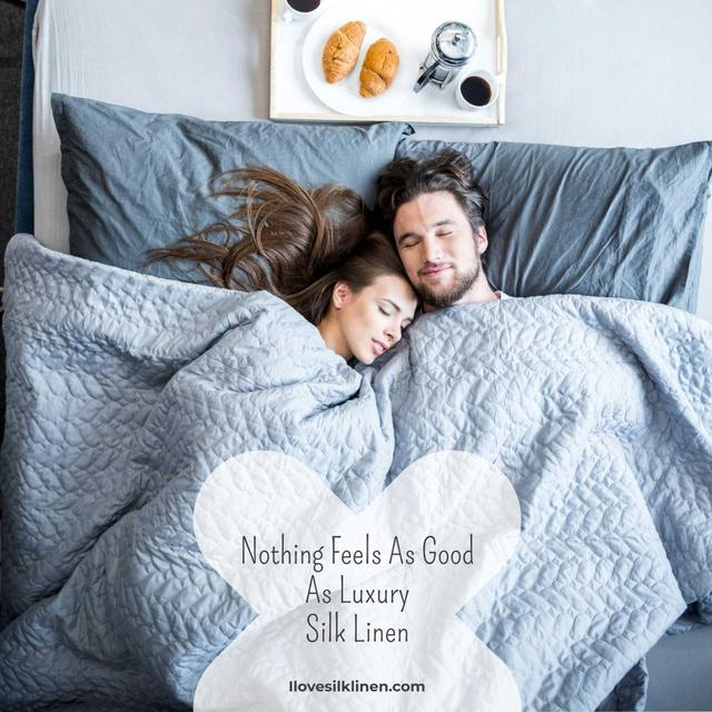 Template di design Bed Linen ad with Couple sleeping in bed Instagram AD