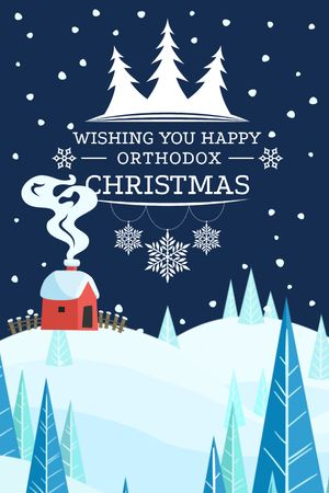 Template di design Christmas Greeting with Snowy Landscape Tumblr