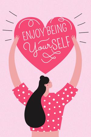 Girl Power Inspiration with Woman holding Heart Pinterest Design Template