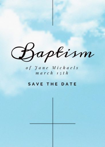 Baptism Ceremony Announcement With Clouds In Sky