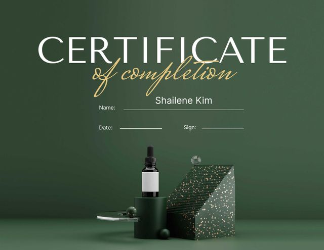 Beauty Course Completion Award with Cosmetic Oil Certificate Design Template
