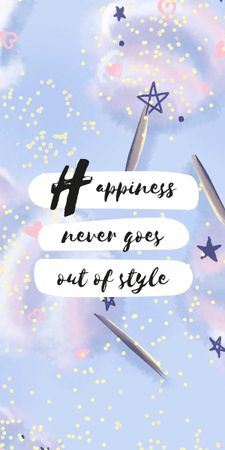 Happiness Quote on blue pattern Graphic Design Template