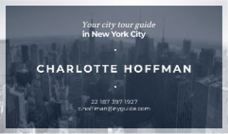City Tour Guide Ad with Skyscrapers in Blue Business card Modelo de Design