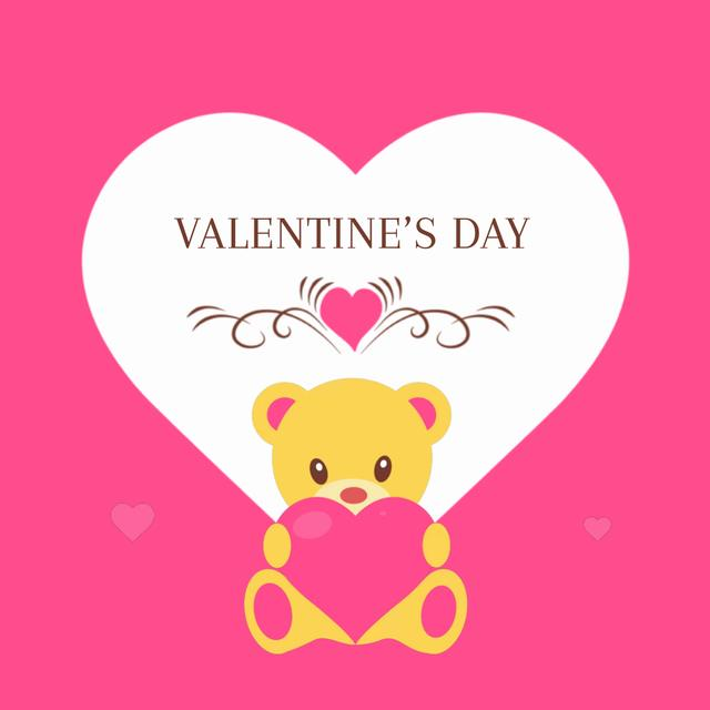 Template di design Pink Valentine's Card with Teddy Bear Animated Post