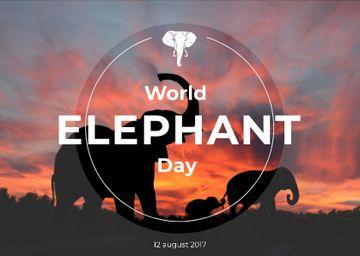 World elephant day with Elephants on Sunset