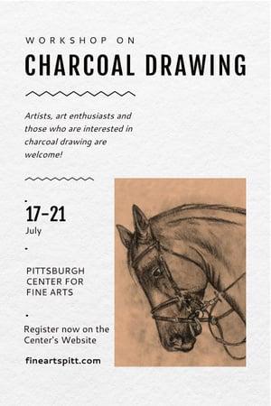 Ontwerpsjabloon van Pinterest van Charcoal Drawing Ad with Horse illustration