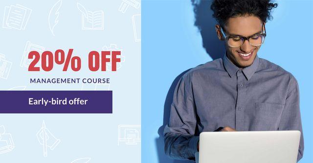 Management Course Offer with Man holding Laptop Facebook AD Modelo de Design