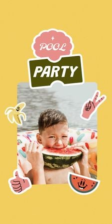 Pool Party Invitation with Kid eating Watermelon Graphic – шаблон для дизайна
