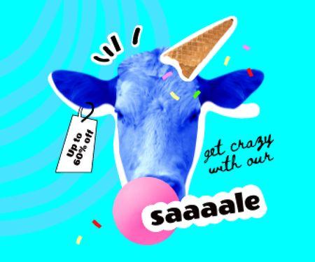 Funny Cow with Ice Cream Waffle Cone Large Rectangle – шаблон для дизайну