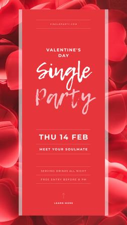 Designvorlage Invitation to Single Party on Valentine's Day für Instagram Story