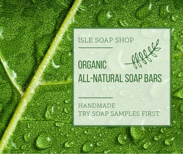 Organic Cosmetics Ad Drops on green Leaf Facebook Design Template