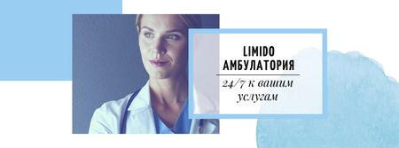 Doctor in uniform with stethoscope Facebook cover – шаблон для дизайна
