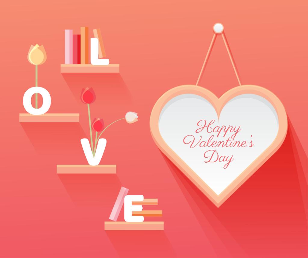 Plantilla de diseño de Valentine's Day Greeting Heart and Books Facebook