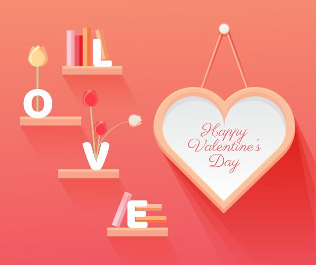 Ontwerpsjabloon van Facebook van Valentine's Day Greeting Heart and Books