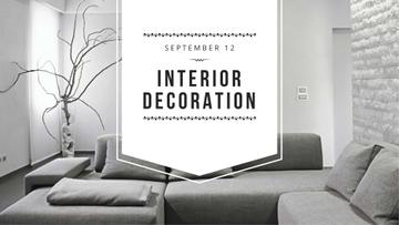 Interior Workshop ad with Sofa in grey