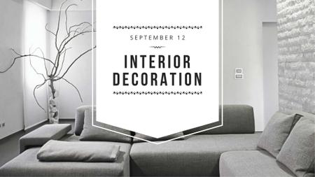 Interior Workshop ad with Sofa in grey FB event coverデザインテンプレート