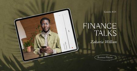 Financial Podcast Announcement with Successful Businessman Facebook AD Modelo de Design