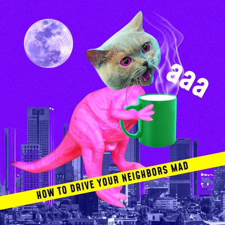 Platilla de diseño Funny Illustration of Dinosaur with Cat's Head Album Cover