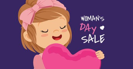 Women's Day Sale with Girl holding Heart Facebook ADデザインテンプレート