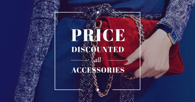 Accessories Sale Offer with Woman holding Stylish Bag Facebook AD Design Template
