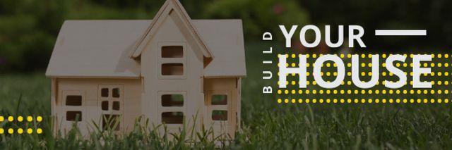 Ontwerpsjabloon van Email header van Small wooden House Model