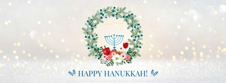 Modèle de visuel Hanukkah Greeting with menorah - Facebook cover