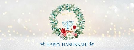 Hanukkah Greeting with menorah Facebook cover Design Template