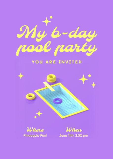 Birthday Pool Party Announcement Invitation – шаблон для дизайну