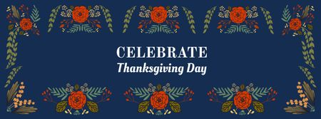 Plantilla de diseño de Thanksgiving Day Greeting in Flowers Frame Facebook cover
