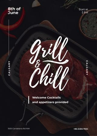 Raw meat steak on Grill Invitation Modelo de Design